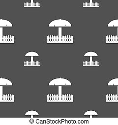 Sandbox icon sign Seamless pattern on a gray background...