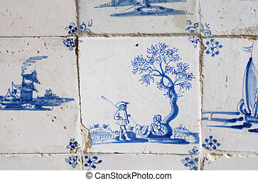 Original Delft blue tile with two shepherds - Vintage 17th...