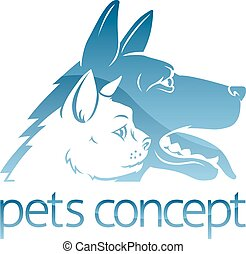 Cat ad Dog Pets Concept - An illustration of stylised pet...