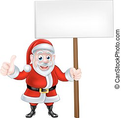 Cartoon Santa Doing Thumbs Up Holding Sign - Cartoon Santa...