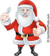 Cartoon Santa Holding a Spanner