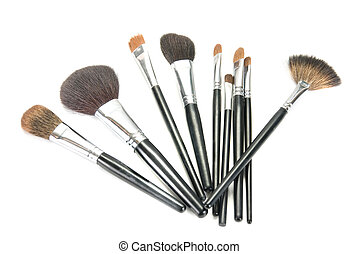 professional make-up brushes on white background