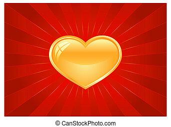 Red light burst with golden heart