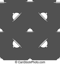 Food platter serving sign icon. Table setting in restaurant symbol. Seamless pattern on a gray background. Vector