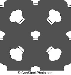 Chef hat sign icon. Cooking symbol. Cooks hat. Seamless pattern on a gray background. Vector