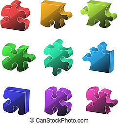 Pieces of puzzle. Vector illustration.