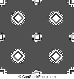 Central Processing Unit Icon. Technology scheme circle symbol. Seamless pattern on a gray background. Vector