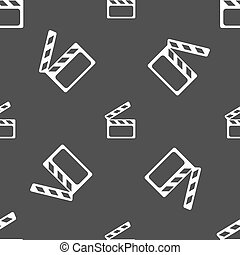 Cinema Clapper  sign icon. Video camera symbol. Seamless pattern on a gray background. Vector