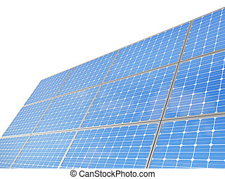 A set of environment solar panel poles, isolated white...