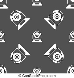 Webcam sign icon. Web video chat symbol. Camera chat. Seamless pattern on a gray background. Vector