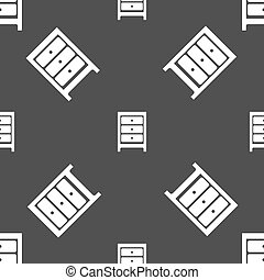 Nightstand icon sign Seamless pattern on a gray background...