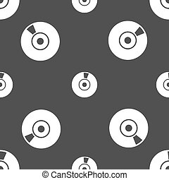 CD or DVD icon sign Seamless pattern on a gray background...