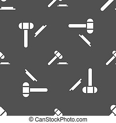 judge hammer icon Seamless pattern on a gray background...