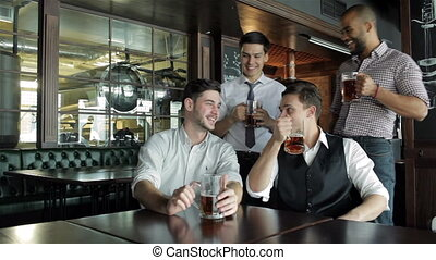 Four businessmen fans drinking beer and rejoice - Four...