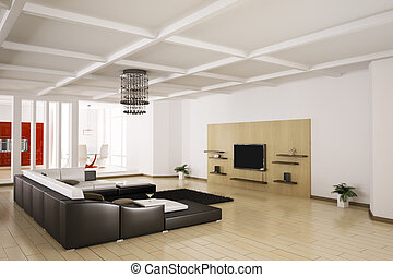 Apartment interior 3d - Interior of apartment. Living room,...