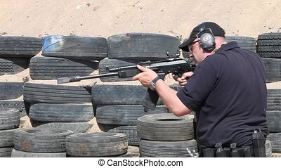 machine gun Kalashnikov - Shooter with a machine gun...