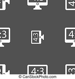 Aspect ratio 4 3 widescreen tv icon sign Seamless pattern on...