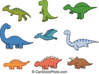Prehistoric animal doodle cartoon illustration