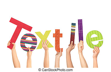 Diverse Hands Holding The Word Textile