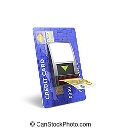Credit catd with cash validator; concept; payment