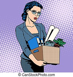 Business woman fired from work sad - Business woman fired...