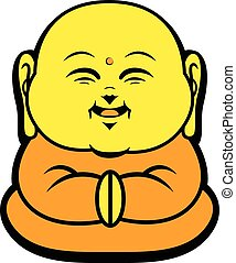 Cartoon Character Happy Buddhist Smile - hand-drawn cartoon...