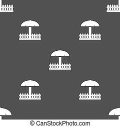 Sandbox icon sign Seamless pattern on a gray background...