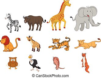 Wild animal safari illustration funny cartoon design