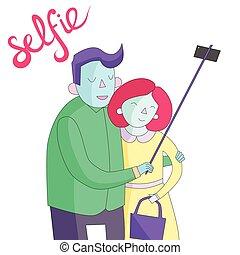 selfie photo illustration vector vivid color - selfie photo...