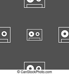cassette sign icon Audiocassette symbol Seamless pattern on...
