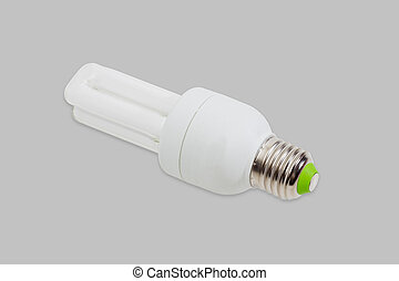 Compact fluorescent lamp on a gray background - Compact...