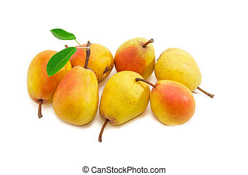 Several Duchess pear on a light background - Several ripe...