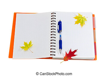 Notebook, pen and a few autumn leaves - Disclosed notebook...