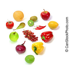Healthy food, healthy heart - Fruit and vegetable collection...