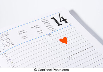 February 14th Valentines - Diary open on february 14 with a...