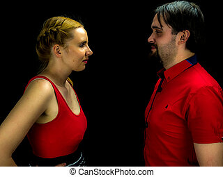 young couple fighting - Studio shot of a young couple...