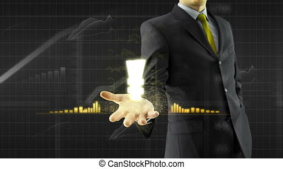 Business man hold yen yuan on hand - Business man trader...