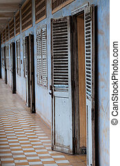 Exposition in Tuol Sleng S21 Prison, Phnom Penh, Cambodia -...