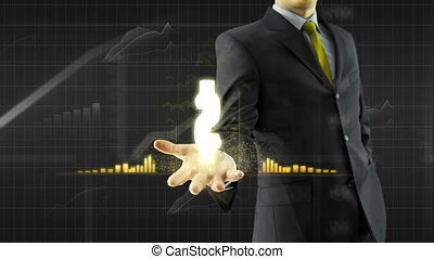 Business man hold dollar on hand - Business man trader hold...