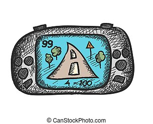 game console gadget and joypad, doodle vector illustration