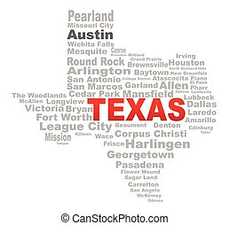 Texas State Word Cloud - A Texas mapt shape with the text...