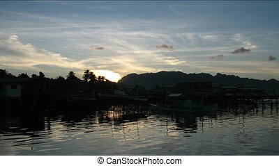 Time lapse of sunrise in Coron town , Philippines - Coron...