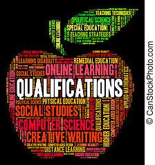 palavra, qualificações, licenciado, perito, hábil, mostra