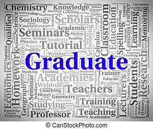 Graduate Word Means Achievement Diploma And University -...
