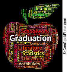 Graduation Word Shows College Achievement And Qualified