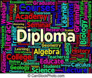 Diploma Word Represents Certificate Certificates And Text