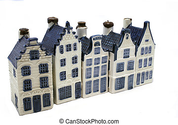 choosing a house - delft blue houses in a row