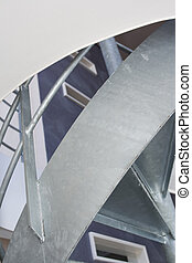 Interior design with metal staircase