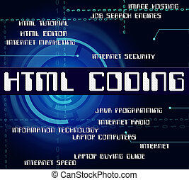 Html Coding Represents Hypertext Markup Language And Cipher...