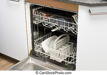 Dishwasher in kitchen - Dishwasher with a few dirty items
